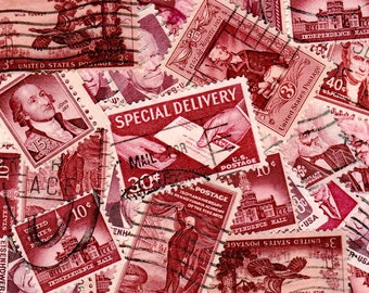 30 Maroon Vintage Postage Stamps