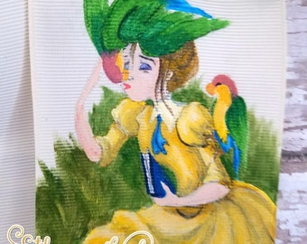 Jane from Disney Tarzan playing with colorful parrots hand painted cheer bow hair bow hair accessory