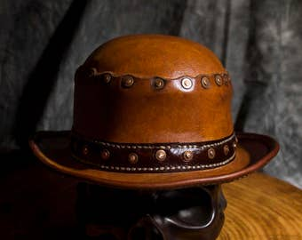 Steampunk Leather Bowler
