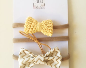 3 Piece Bow Headband Set - Baby/Girl Headbands