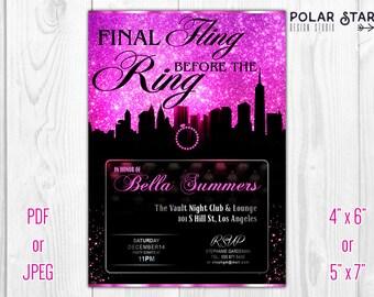 Final Fling Before The Ring - Custom Bachelorette Invitation / Marriage - Printable Digital File (050)