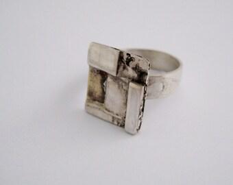 Adjustable silver ring. Silver band ring, textured silver ring, square ring, mosaics ring