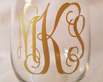 Personalized Stemless Wine Glass / Bridesmaids Gifts / Hostess Gifts / Bachelorette Party / Party Favor / Birthday Gift / Stocking Stuffer