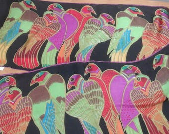 Vintage, silk scarf with parrots!  Beautiful colors. Bright green, orange, fushia, black and more.