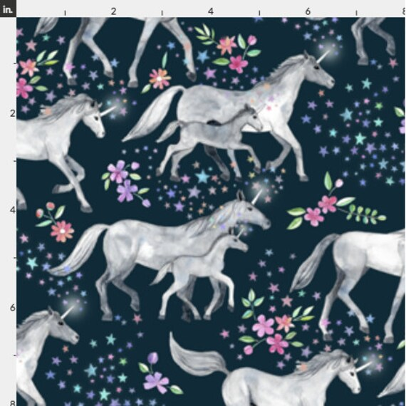 Unicorns with stars and flowers jersey knit fabric by the for Kids horse fabric