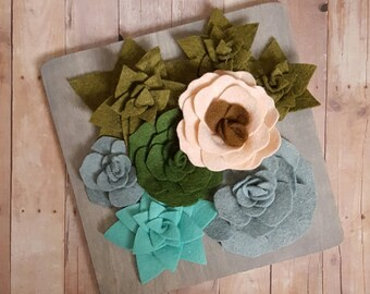 Felt succulent vertical garden with felt flower in a wood frame