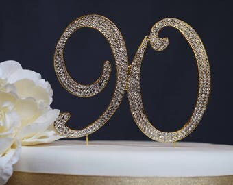 90 GOLD Cake Topper - Premium Crystal Rhinestones - Monogram Number Ninety - 90th Birthday or Anniversary Party Decoration
