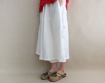Women Linen Pants Elastic Waist Wide Leg Pants Capris, Harem Pants Calf-length Pants Loose Capris