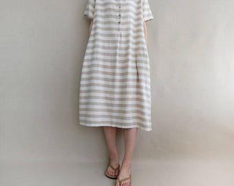 Women Sundress Leisure Dress Summer Linen Striped Dress Cotton Casual Tunic Dress With Button