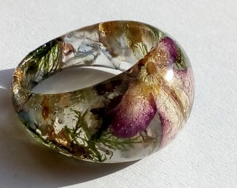 Real Flower Ring, Flower Ring, Angel Ring, Flower Resin Ring, Resin Flower Ring, Pressed Flower Jewelry, Angel Resin Ring