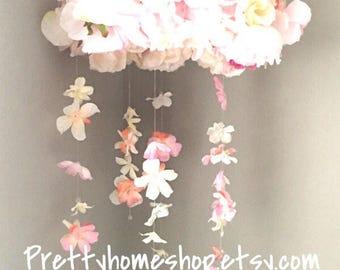 Baby flower mobile, baby mobile, baby mobiles, floral mobile, crib mobile girl, flower mobile, floral chandelier, crib mobile, crib mobiles