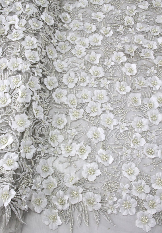 Bridal lace fabric by the yard3d lace fabricbeaded by for Wedding dress lace fabric