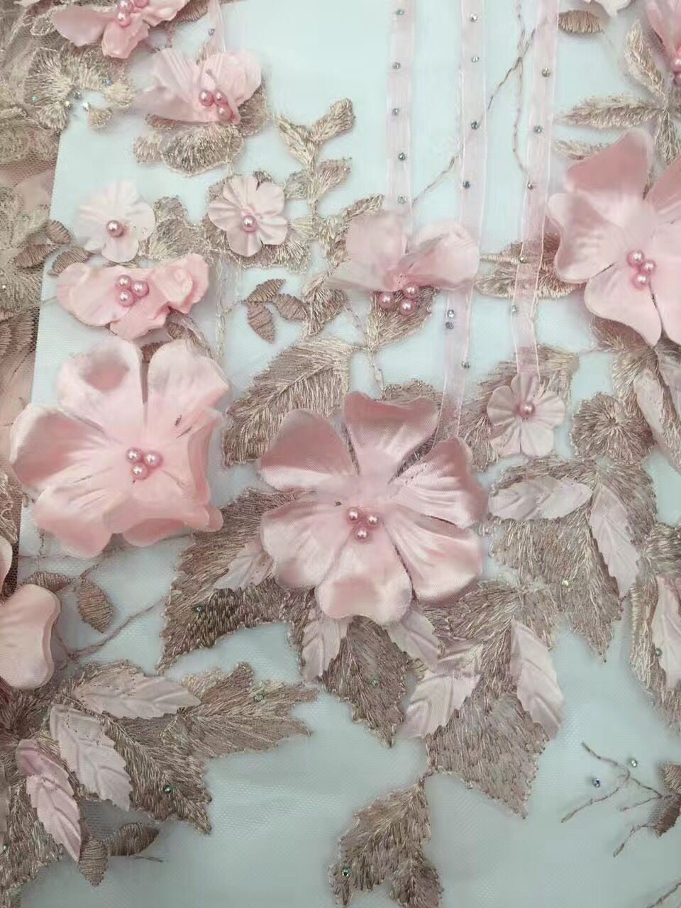 Luxury 3d Flower French Net Lace Fabric With Bead