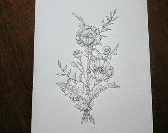 Poppy and leaves pen and ink original