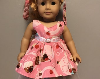 Cupcakes and Cherries 50's style dress for 18 inch dolls