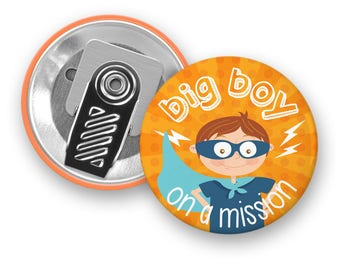 Motivational badge Big Boy on a mission - Superhero - Clip Button - Badge - Boy - Motivation - Kids - Minimo playful motivation