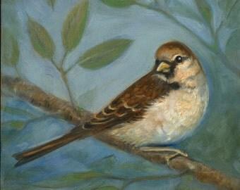 Summer Sparrow, Oil Painting, Bird Art, Original art