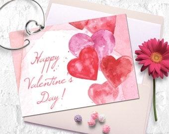 Printable Valentine card. Love card, Valentine greeting card, Romantic watercolor card.