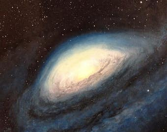 The Universe Space Art Galaxy painting Gift idea for him Acrylic painting on canvas 16x20 inch (41x51cm) Original painting Home decor
