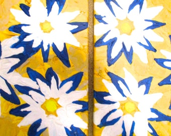 """floral painting - abstract floral artwork - set of two abstract paintings - 12"""" by 12"""" each - gift for friend"""