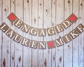 Engagement party decorations, Engagement ideas, engaged banner, engaged sign, rustic wedding signs, engaged name banner, engagement gift