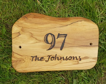 Rustic burned olive wood house name or number