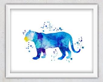 Watercolor Printable Download Print, Tiger Print Nursery, Wild Cat, Big Cat Poster, Nursery Room Gift, Watercolor Animal Art, Instant Print
