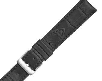Black Alligator Grain Calfskin Semi-Matte Mens Watch Band 18mm 20mm 22mm Size Watch Band Strap