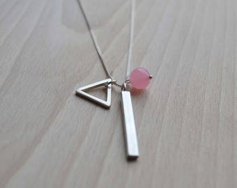 Elements Triangle Necklace | Sterling Silver Small Triangle Necklace | Multi Charm Necklace | Customisable Necklace | Pink Jade Necklace