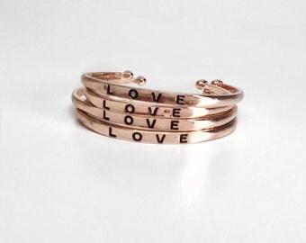 Love Bridesmaid Bracelets, rose gold bracelets, LOVE bracelet, bridesmaid gift