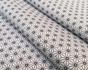 Fabric Saki white and grey - size to 1 quantity 50 cm x 160 cm - asanoha - 100% cotton