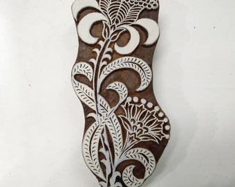 Indian Wooden Printing Block Floral Patti Pattern Hand Carved Fabric art Stamp