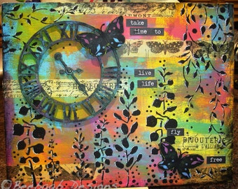 "Handmade wall art ""Take Time"", gift, butterflies and clocks wall art"