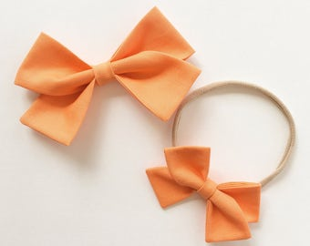 Baby Girl, Toddler, Girls Fabric Bow Headband or Hair Clip - Sherbert Orange