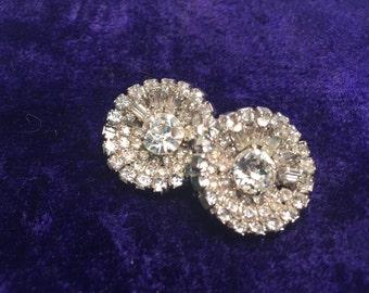 Vintage Costume Diamond Clip-On Earrings