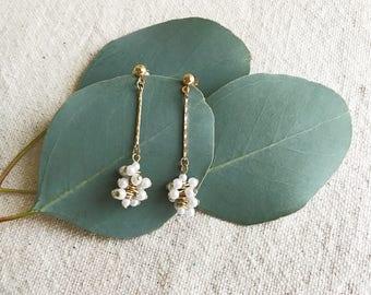 Vintage Pearl Earrings, Retro Costume Jewelry, Boho Jewelry, Beaded Jewelry, Faux Pearl Earrings, Vintage Costume Jewelry, Retro Earrings