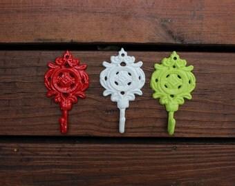SALE-Set of 3 Ornate Wall Hook Cast Iron Christmas Spirit/Shabby Chic/Home Decor/Bathroom Decor