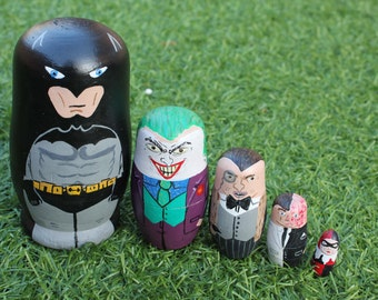 Matrioska Batman. Russian doll, hand painted. Home decoration. Toy. Present. 5 pieces. Matryoshka, Babushka.