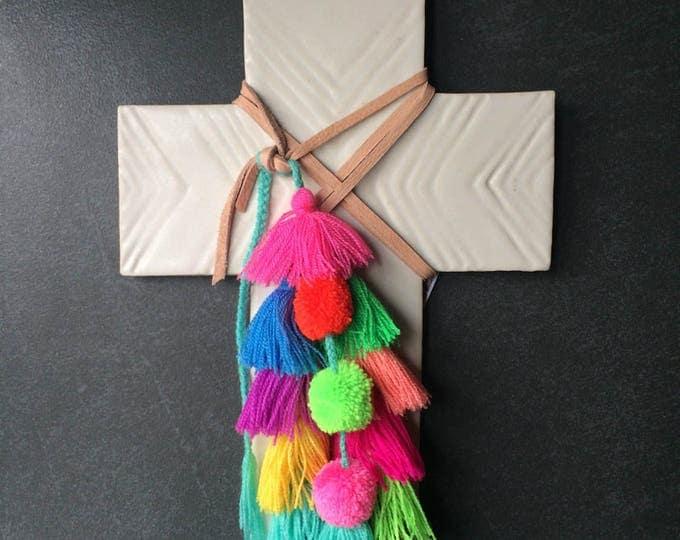 Decorative Ceramic Cross #13 / Carved Arrow Design / Multi-Colour Fair-trade Tassels & Pom-Pom Trim
