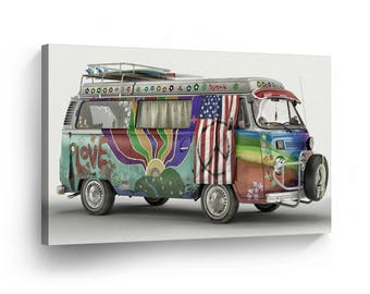 Classic Volkswagen Van Hippie Canvas Print Home Decor / Old Vintage Bus / Camper/ Wall Art Gallery Wrapped /Ready to Hang