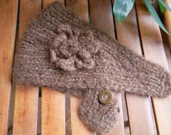 Hand knit head scarf