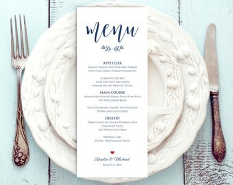 Navy Blue Wedding Menu Template, Rustic Wedding Menu, Menu Printable, Menu Cards, Rustic Wedding, Wedding Dinner Menu, PDF Template, WPC_358