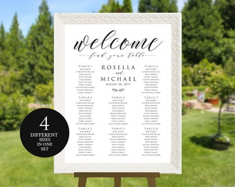 Wedding seating chart, printable seating chart, Seating Chart Template, engagement seating chart, Welcome, Find your seat sign, WPC_479SD3A