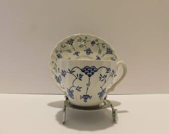 "Myott Finlandia Teacup and Saucer England Staffordshire Ware scalloped edge Saucer Myott ""Finlandia"" Blue on White Fine Staffordshire Ware"