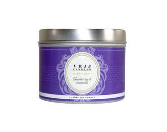SALE! Blueberry - Vanilla Candle, Bakery Scented Candle, Tin Candle, Scented Candle, Soy Wax Candle, Foody Candles , Candle, Strong Candle