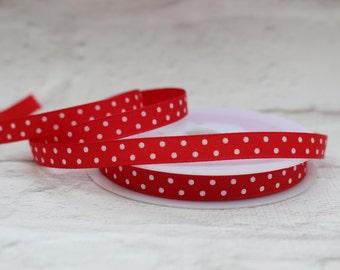 Grosgrain Ribbon, 2 Meters Ribbon, 10mm ribbon, Red Ribbon, Craft Ribbon, Birthday Ribbon, Polka Dot Ribbon, Etsy Shop Supplies