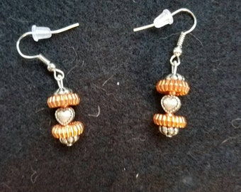 Sliver and Copper Heart Earrings