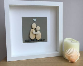 Pebble art picture: 'Couple in love' Wedding Engagement Anniversary Birthday New Home Handmade Gift