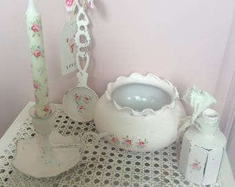 Shabby Chic Pink Vintagestyle Distressed Candle Holder  /