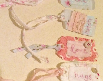 Shabby Chic Fabric Luggage tags Cwtch / Love / Hugs Hand embroidered tag